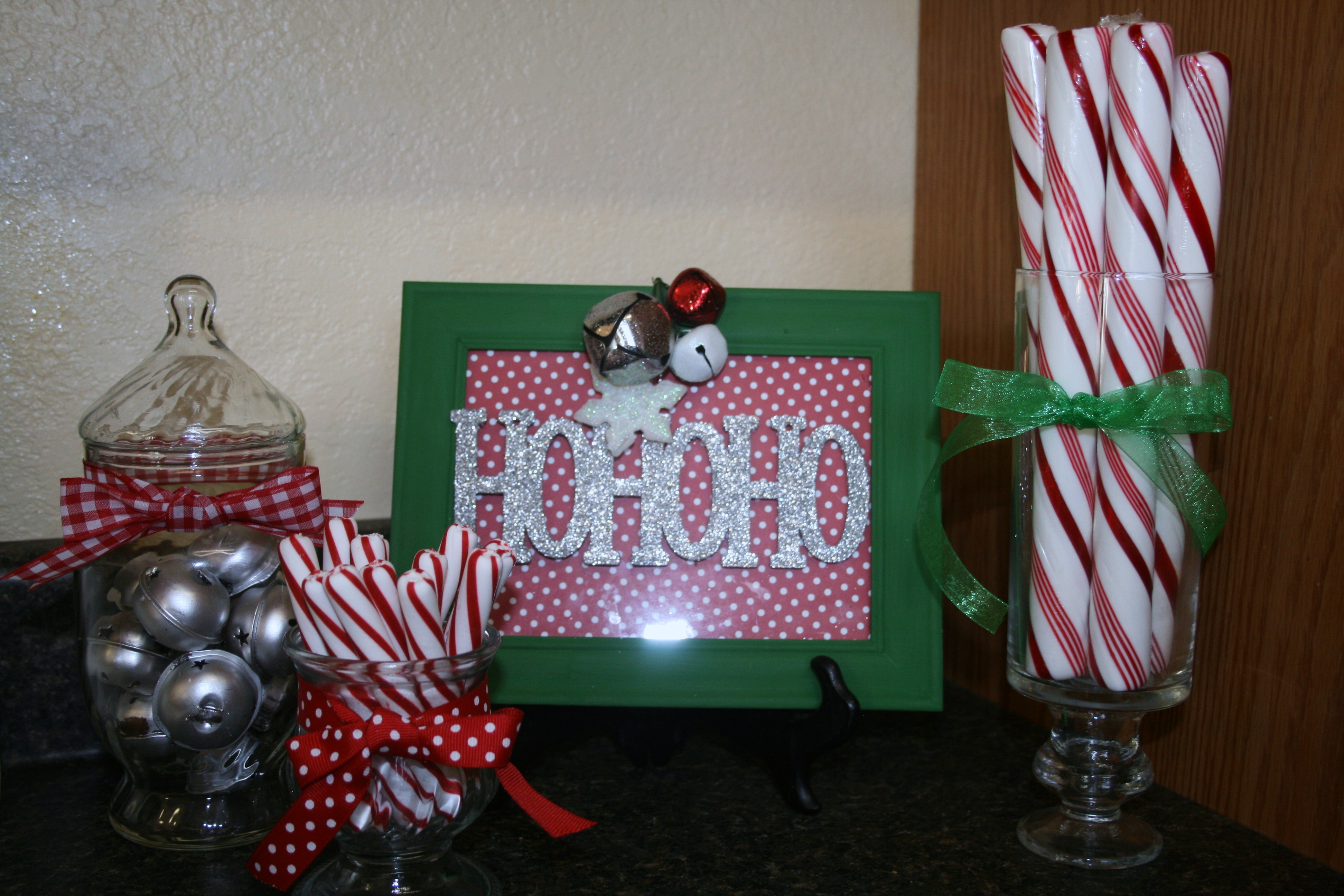 i made the ho ho ho picture from a dollar tree frame some scrapbooking paper i already had and a 1 ornament from wal mart - Dollar Tree Decorations